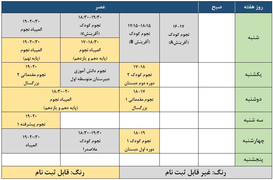 جدول زمانبندی کلاس های نجوم پاییز99
